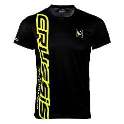 Crussis Pánské triko Crussis - krátký rukáv černá-fluo žlutá - L