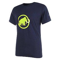 Mammut Logo - krátký rukáv tmavě modrá se zeleným logem - XXL